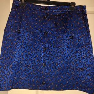 NWOT Banana Republic Blue Cheetah Mini Skirt